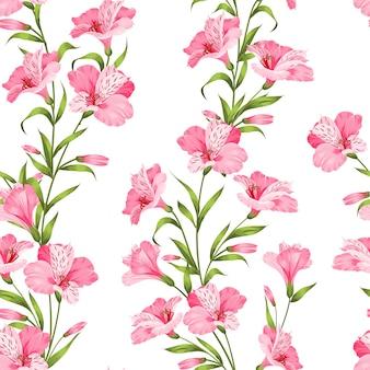 熱帯のシームレスなパターン。白い背景に咲くアルストロメリア。