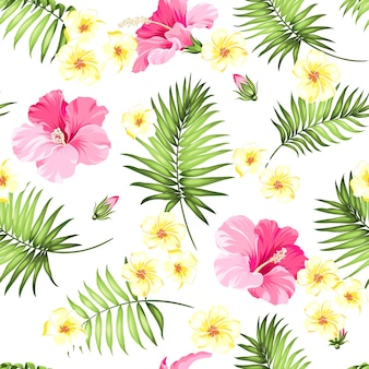 熱帯のシームレスなパターン。咲くハイビスカスと白い背景の上の手のひら。
