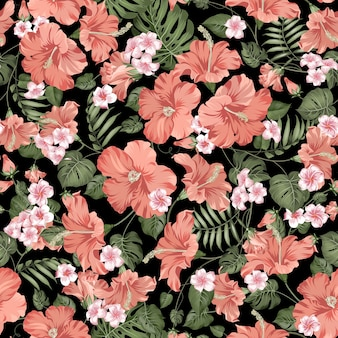 Tropical seamless pattern. blooming hibiscus on black background.