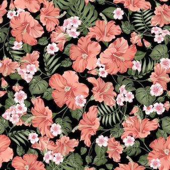 熱帯のシームレスなパターン。黒の背景に咲くハイビスカス。