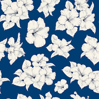 Tropical seamless pattern. blooming hibiscus