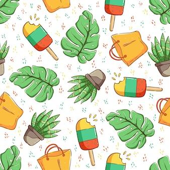 열 대 원활한 패턴 선인장 열 대 잎과 아이스크림 패턴