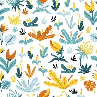 熱帯のシームレスなパターン。イラスト幻想的な植物や漫画のスカンジナビアスタイルの歯を持つ花。幼稚なデザイン