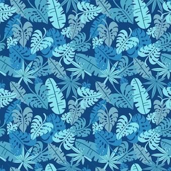 熱帯のシームレスなパターン、ヤシの葉の花の背景。エキゾチックな植物の葉プリントイラスト。サマーブルーのジャングルプリント。ペイントラインにヤシの木の葉。フラット手描きデザイン