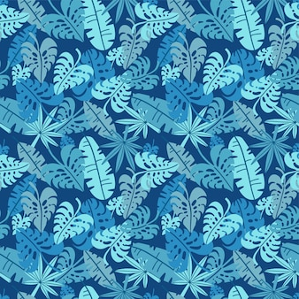 Tropical seamless pattern, palm leaves floral background. exotic plant leaf print illustration. summer blue jungle print. leaves of palm tree on paint lines. flat hand drawn  design