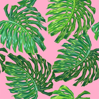 Tropical seamless pattern palm leaves