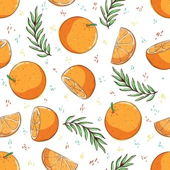オレンジ色の果物とヤシの葉を持つ熱帯のシームレスなパターン夏のパターン