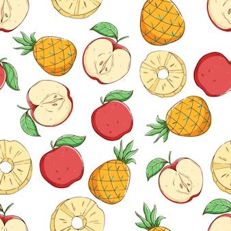 파인애플과 사과 조각으로 열 대 원활한 패턴 여름 패턴