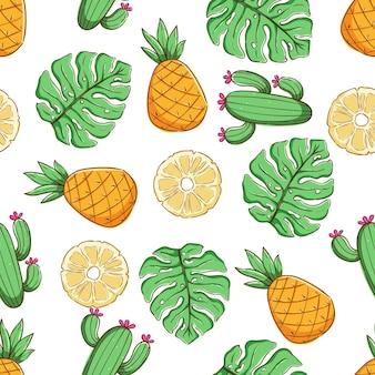 파인애플 선인장과 몬스 테라 잎 열 대 원활한 패턴 여름 패턴