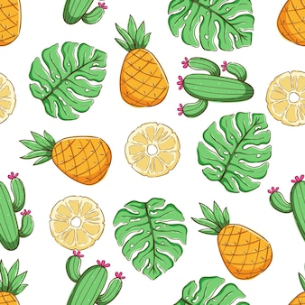 Tropical seamless pattern summer pattern with pineapple cactus and monstera leaves