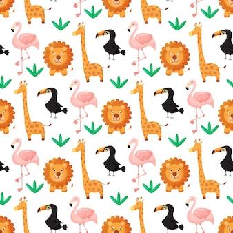 열 대 원활한 패턴 큰부리새 플라밍고 사자 기린과 이국적인 잎
