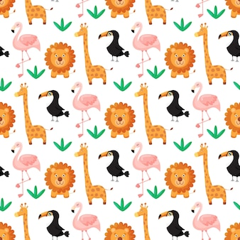 Tropical seamless pattern toucan flamingos lion giraffe and exotic leaves