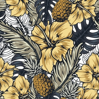 Tropical seamless pattern in vintage style with pineapple fruits exotic flowers and leaves