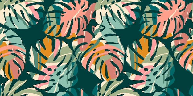 Tropical seamless pattern with abstract leaves.