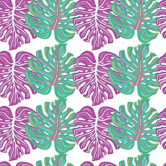 흰색 배경에 고립 된 추상 몬스테라 잎 열 대 완벽 한 패턴입니다.