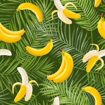 Tropical seamless pattern with banana and palm leaves