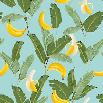 Tropical seamless pattern with bananas and palm leaves