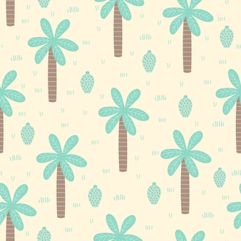 Tropical seamless pattern with cartoon palm and cactus.