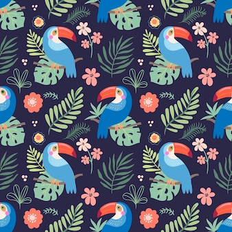 Tropical seamless pattern with colorful parrots and leaves
