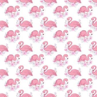 Tropical seamless pattern with cute flamingo and flowers.