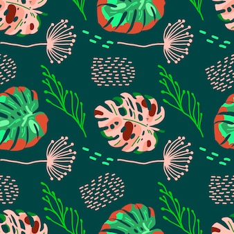 Tropical seamless pattern with exotic leaves.