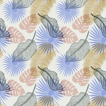 Tropical seamless pattern with exotic palm leaves