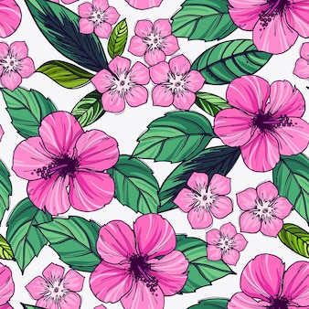Tropical seamless pattern with exotic plants and hibiscus flowers.