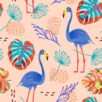 Tropical seamless pattern with flamingos and exotic leaves.