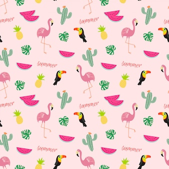 Tropical seamless pattern with flamingos, toucans, cactuses and tropical fruits.