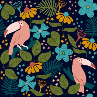 Tropical seamless pattern with flowers and birds.