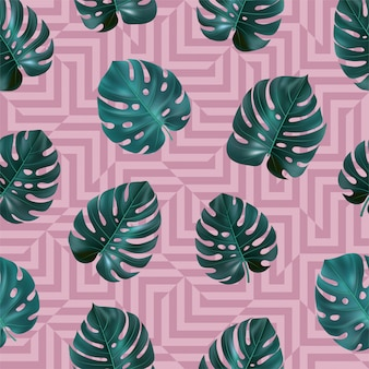 Tropical seamless pattern with green leaves monstera on pink geometric background.  template for textile, wallpaper, sites, card, fabric, web .