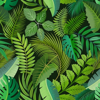 Tropical seamless pattern with green palm leaves on dark background.