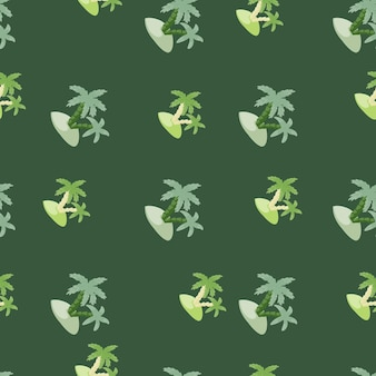 Tropical seamless pattern with hand drawn island and palm tree shapes. green background. exotic nature print.