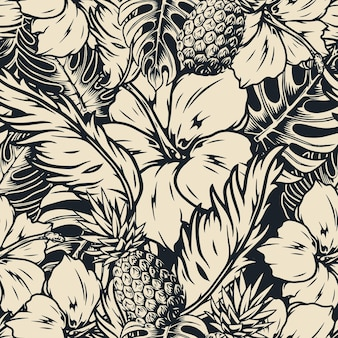 Tropical seamless pattern with hibiscus flowers and pineapples
