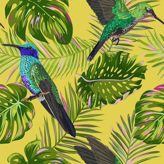Tropical seamless pattern with humming bird