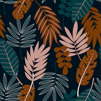 Tropical seamless pattern with leaves on dark