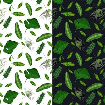 葉と熱帯のシームレスパターン