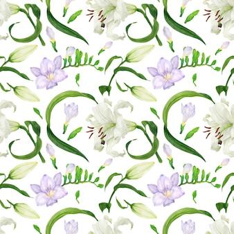 릴리와 프리지아 꽃으로 열 대 원활한 패턴