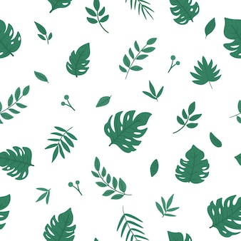 Tropical seamless pattern with monstera, palm tree and fern leaves.