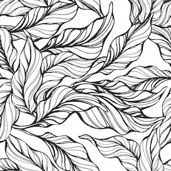 자연 잎 손으로 그린 스케치 빈티지 질감 추상 벽지와 열 대 원활한 패턴