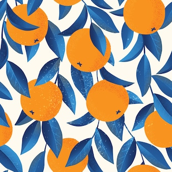 Tropical seamless pattern with oranges. fruit repeated background.