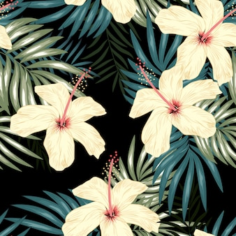 Tropical seamless pattern with palm leaf and hibiscus flower