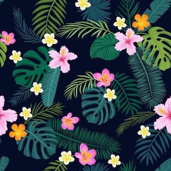 Тропический фон с пальмовыми листьями и цветами. векторная иллюстрация