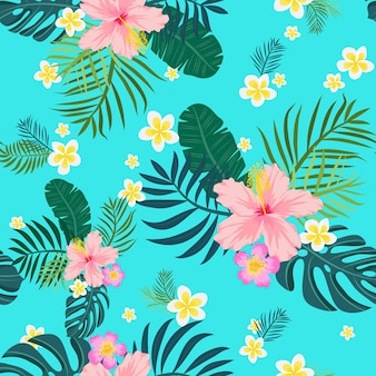 Tropical seamless pattern with palm leaves and flowers. vector illustration