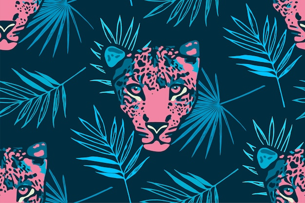 Tropical seamless pattern with palm leaves and leopard