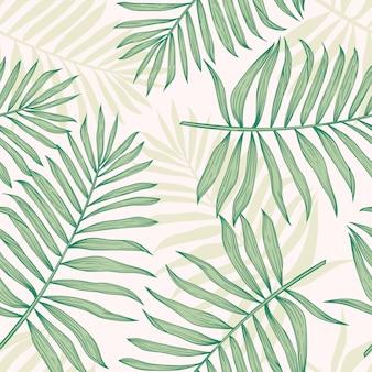 Тропический бесшовный фон с пальмовых листьев.