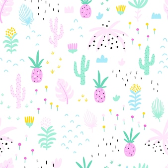파인애플 선인장과 꽃과 열 대 원활한 패턴