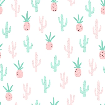 Tropical seamless pattern with pineapple and cactus