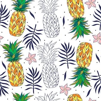 パイナップルとトロピカルなシームレスパターン。