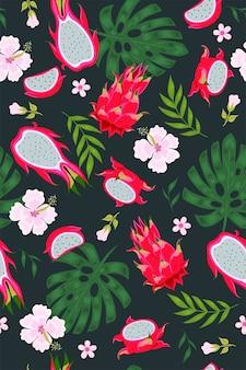 Тропический фон с питайей, листьями и цветами. векторная графика.